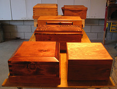 A medley of hand crafted tool cases 