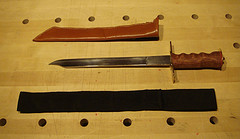 View of a hand built knife and sheaths