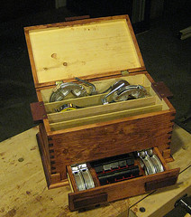 Image of a tool box with drawer, storage for band clamps and accessories