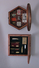 A glass front cabinet displaying 