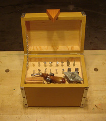 Interior view of leather working tool kit showing arrangement of tools