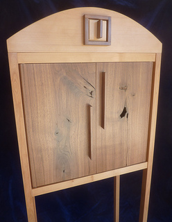 tall walnut and alder free standing cabinet
