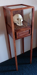 tall and thin display cabinet with drawer