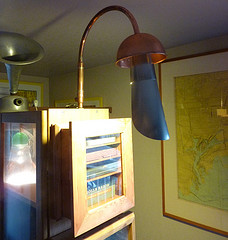 lamp made from water pipe, roof flashing and a 