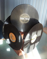 revolving record display.