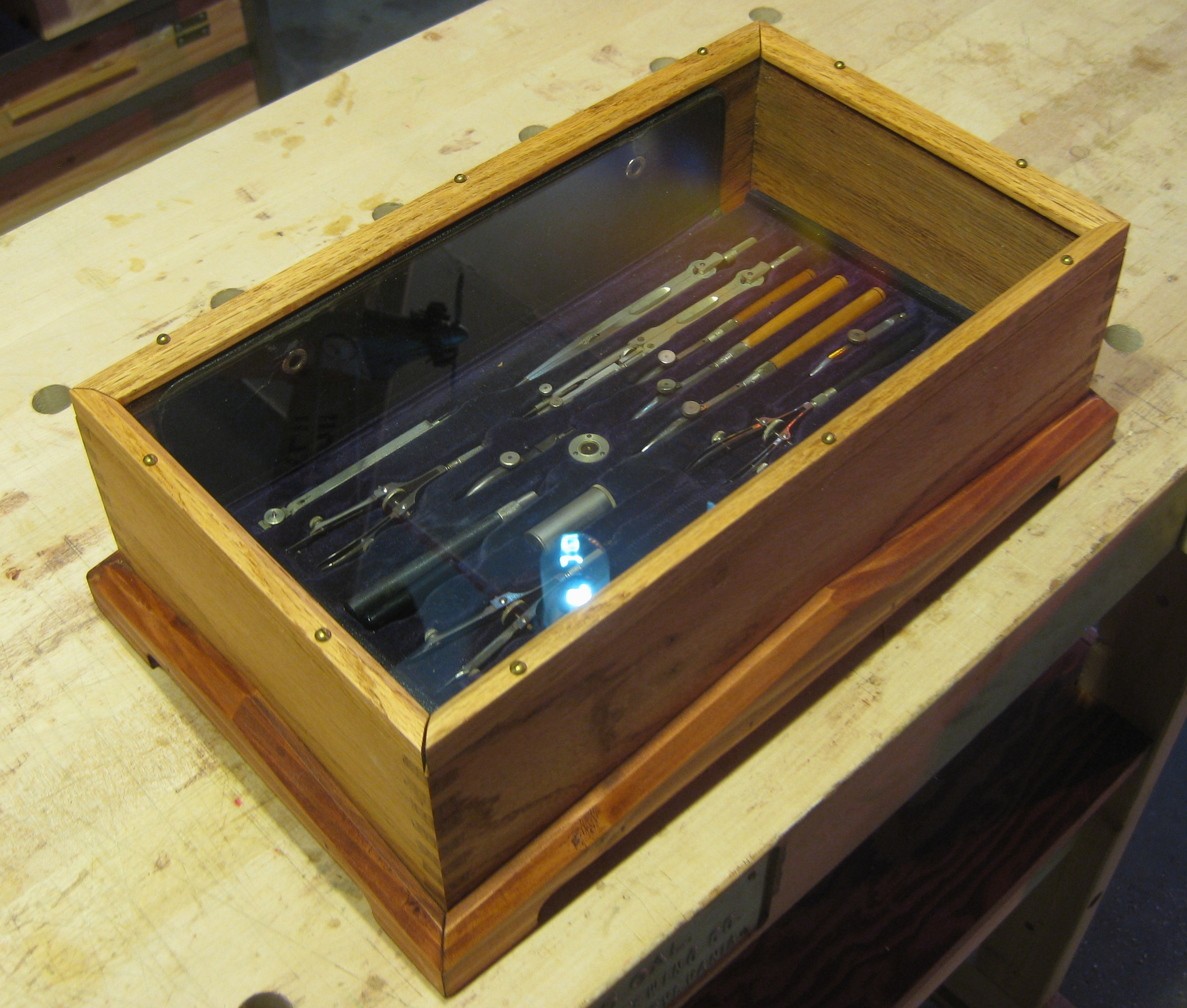 Table top display case - This Small Table Top Display Case Is In Box Jointed Oak With Redwood Trim