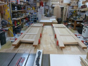 The two sides of the gate in dry fit mock-clamped ready - I hope - for glue up.