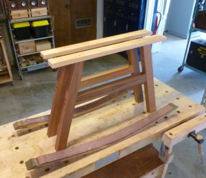 As this is the prototype, I took liberties with the joining, meaning I cheated.  No mortise or tenon, simply pre-drilled and screwed the barrel staves to the legs from the bottom.