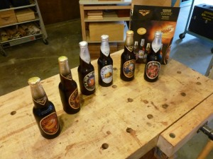 Here's the Unibroue tasting line up in order from left to right.  My fav: Maudite.