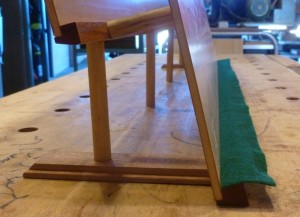 Backstage with the cookbook rack - showing the feet and the method of joining the front to the rear rack.