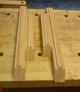 Like a backwards forward picture frame - this oak will hold the floor of the two Prize Cases and the seem between the ply floor and the oak will be underneath the box bottom edge.