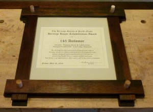 The Asilomar Frame formed from oak wine-flavoring staves .... mostly.