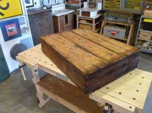 The Farm Crate: it's about 3 x 2 x 1 foot, upended here on the workbench.